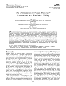 The Dissociation Between Monetary Assessment and Predicted Utility