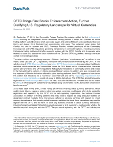 CFTC Brings First Bitcoin Enforcement Action, Further Clarifying U.S.