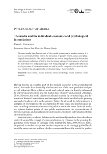 PSYCHOLOGY OF MEDIA The media and the individual: economic
