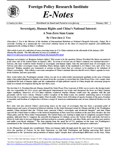 Sovereignty, Human Rights and China`s National Interest: A Non