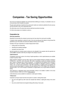 Companies - Tax Saving Opportunities