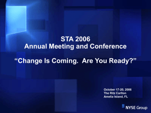 Agenda: Business Overview NYSE / Euronext Merger Market