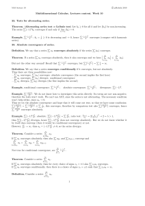 Multidimensional Calculus. Lectures content. Week 10 22. Tests for