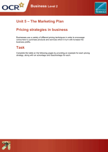 Pricing strategies in business - Lesson element - Learner task