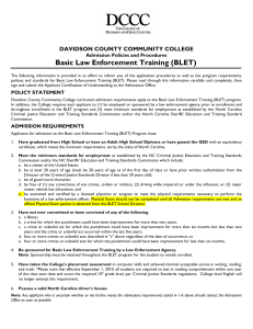 BLET - Davidson County Community College