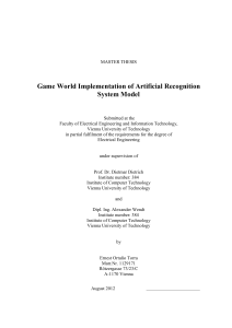 Game World Implementation of Artificial Recognition