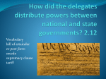 How did the delegates distribute powers between national and state