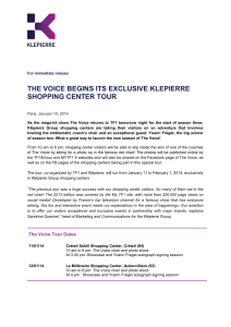 The Voice BEGINS ITS EXCLUSIVE KLEPIERRE SHOPPING