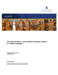 The Stuxnet Worm: Just Another Computer Attack or a Game