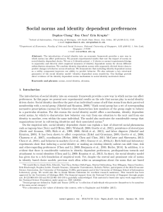 Social norms and identity dependent preferences