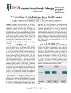A Priority Based Job Scheduling Algorithm in Cloud Computing