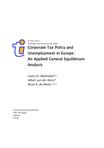 Corporate Tax Policy and Unemployment in Europe