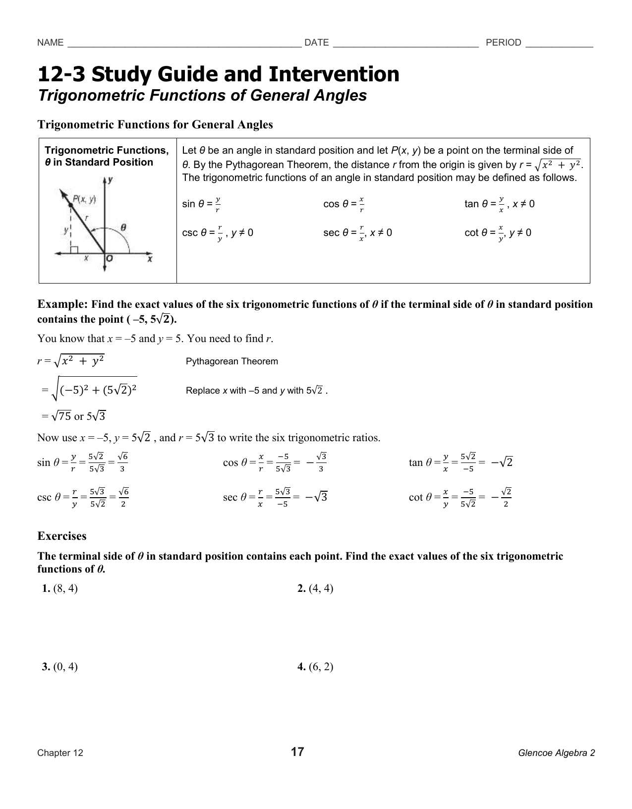 12-3 Study Guide and Intervention Trigonometric Functions of