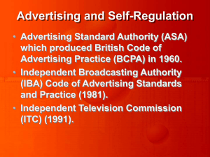 Advertising and Self-Regulation Advertising Standard Authority