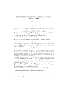 FOURTH PROBLEM SHEET FOR ALGEBRAIC NUMBER THEORY