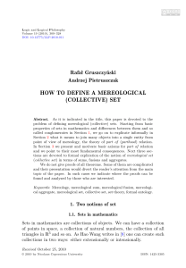 HOW TO DEFINE A MEREOLOGICAL (COLLECTIVE) SET