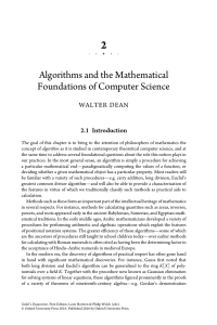 W. Dean. Algorithms and the mathematical foundations of computer