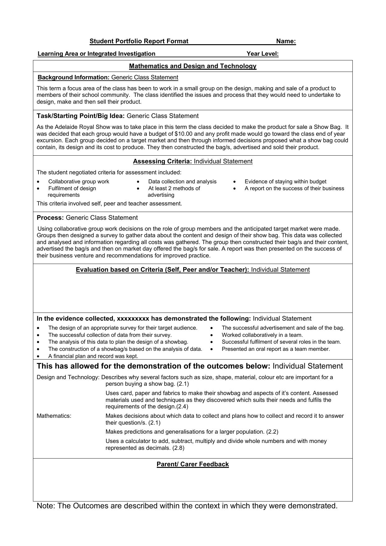 Student Portfolio Report Format Name