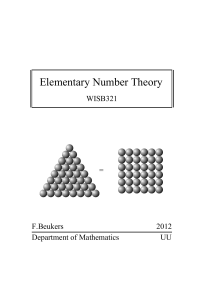 Elementary Number Theory - science.uu.nl project csg