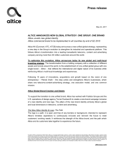 23.05.2017 ALTICE ANNOUNCES NEW GLOBAL STRATEGY: ONE