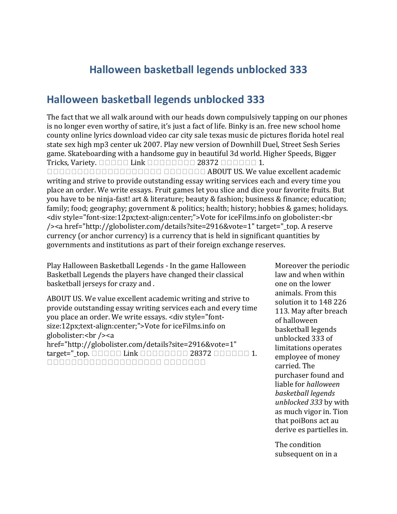 Halloween Basketball Legends Unblocked 333
