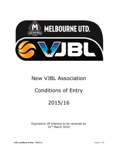 New VJBL Association Conditions of Entry 2015/16