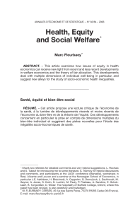Health, Equity and Social Welfare - Annals of Economics and Statistics