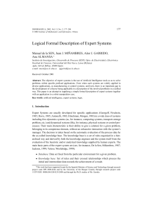 Logical Formal Description of Expert Systems
