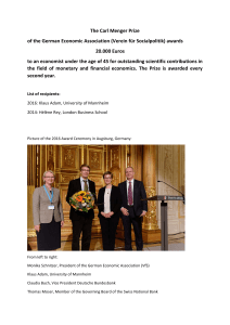 The Carl Menger Prize of the German Economic Association (Verein