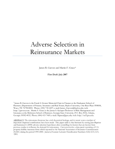 Adverse Selection in Reinsurance Markets