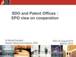 SDO and Patent Offices EPO view on cooperation