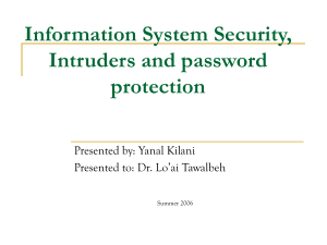 Intruders and password protection