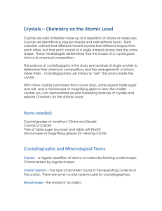 Crystals – Chemistry on the Atomic Level