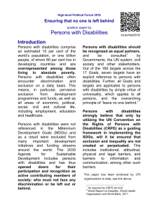Persons with Disabilities - International disability and development