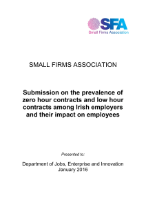 SMALL FIRMS ASSOCIATION Submission on the prevalence of