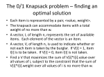 The 0/1 Knapsack problem – finding an optimal solution