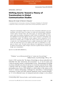 Shifting Geertz: Toward a Theory of Translocalism in Global