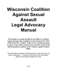 Legal Advocacy Manual - the Wisconsin Coalition Against Sexual