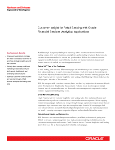 Customer Insight for Retail Banking with Oracle Financial