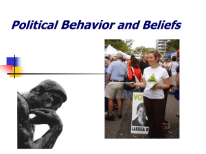 Political Behavior and Beliefs Political Culture The underlying