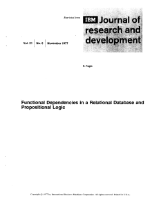 Functional Dependencies in a Relational Database and