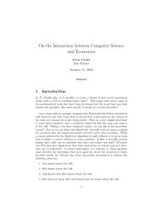 On the Interaction between Computer Science and Economics