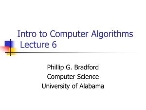 Intro to Computer Algorithms Lecture 6