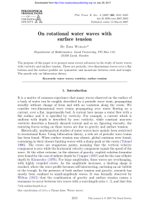 On rotational water waves with surface tension