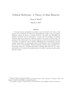 Political Hobbyism: A Theory of Mass Behavior