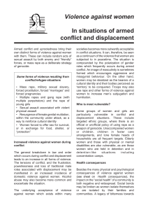 Violence against women In situations of armed conflict and