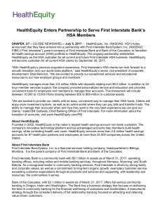 HealthEquity Enters Partnership to Serve First Interstate Bank`s HSA