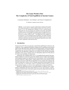 The Game World is Flat: The Complexity of Nash Equilibria in