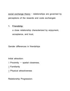 social exchange theory - relationships are governed by perceptions