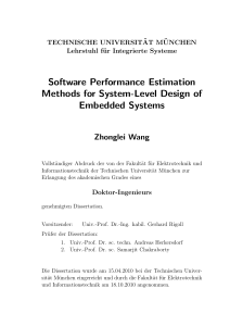 Software Performance Estimation Methods for System